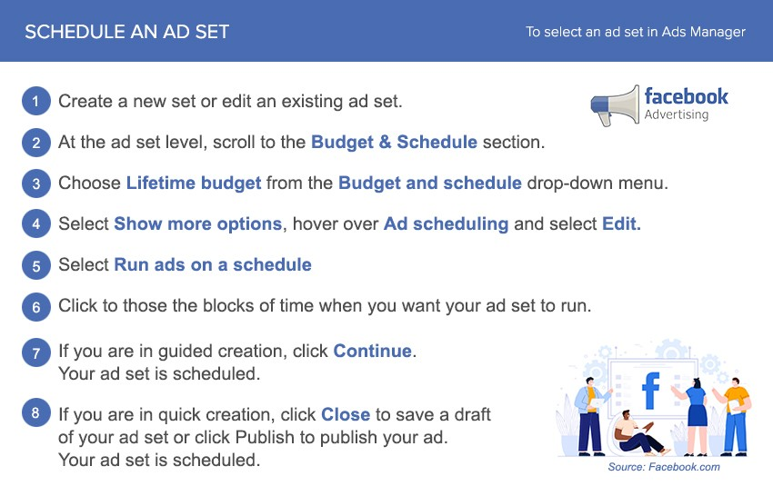 how to schedule an ad set on facebook