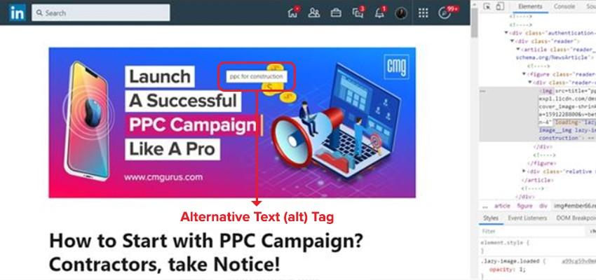 Alternative text (alt) tag